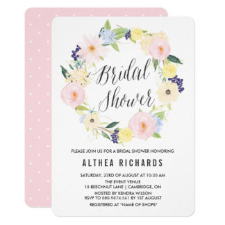 Watercolor Pastel Floral Wreath Bridal Shower 13 Cm X 18 Cm Invitation Card