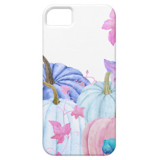 Watercolor Pastel pumpkin and floral frame Barely There iPhone 5 Case