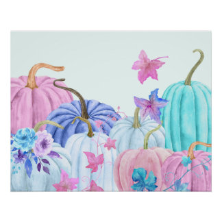 Watercolor pastel pumpkin and floral frame poster