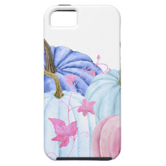 Watercolor pastel pumpkin and floral frame tough iPhone 5 case