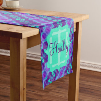 Watercolor Pattern II with Custom Text Short Table Runner