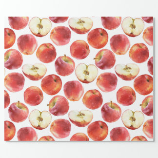 Watercolor pattern with red apples wrapping paper