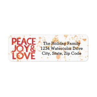Watercolor Peace Christmas Holiday Return Address Return Address Label