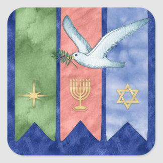 Watercolor Peace Christmas Kwanzaa Hanukkah Square Sticker