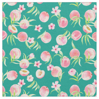 Watercolor Peach and Flower Fabric