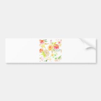 Watercolor peach and gold rose pattern bumper sticker