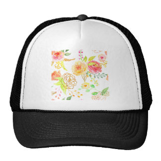 Watercolor peach and gold rose pattern cap