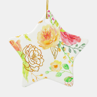 Watercolor peach and gold rose pattern ceramic ornament