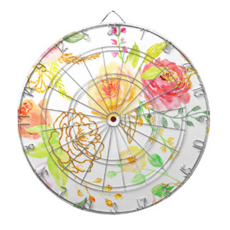 Watercolor peach and gold rose pattern dartboard