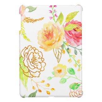 Watercolor peach and gold rose pattern iPad mini covers