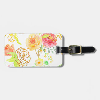 Watercolor peach and gold rose pattern luggage tag
