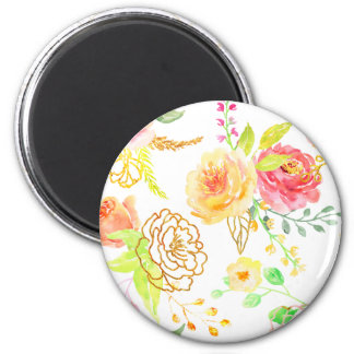 Watercolor peach and gold rose pattern magnet