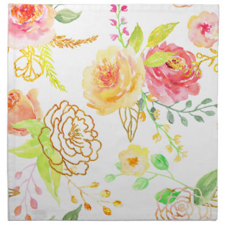 Watercolor peach and gold rose pattern napkin