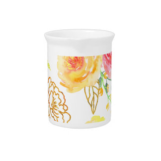Watercolor peach and gold rose pattern pitcher