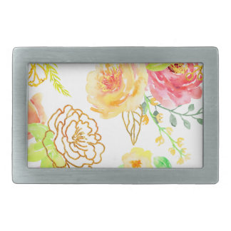 Watercolor peach and gold rose pattern rectangular belt buckle
