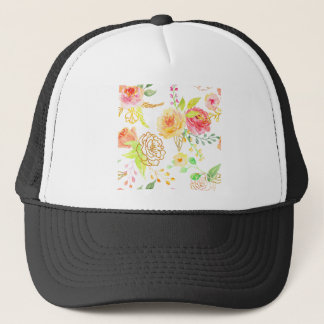 Watercolor peach and gold rose pattern trucker hat