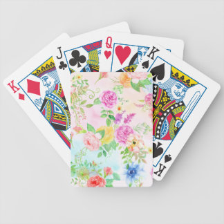 Watercolor Peach and Yellow Rose Pattern Bicycle Playing Cards