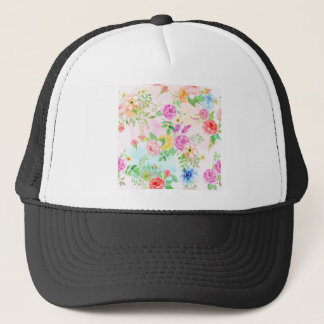 Watercolor Peach and Yellow Rose Pattern Trucker Hat