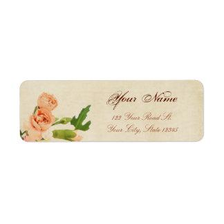 Watercolor Peach Carnation Corners Return Address Label