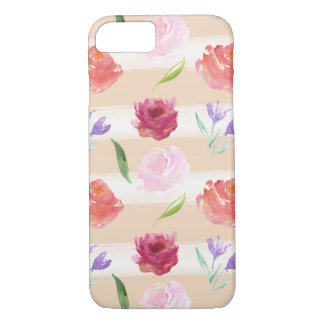 Watercolor Peach Cream Stripes with Flowers iPhone 7 Case
