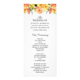 Watercolor Peach Floral Chic Fall Wedding Program Rack Card