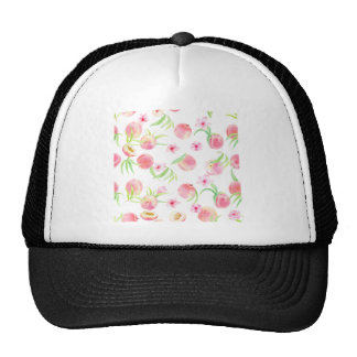 Watercolor peach pattern cap