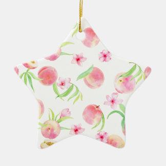 Watercolor peach pattern ceramic ornament