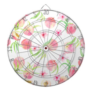 Watercolor peach pattern dartboard with darts