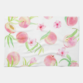 Watercolor peach pattern tea towel