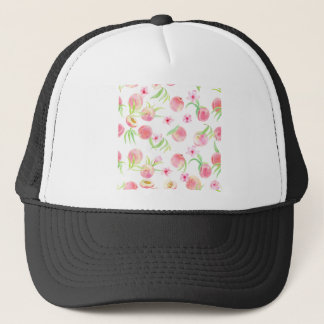 Watercolor peach pattern trucker hat