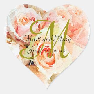 Watercolor Peach Roses Monogram Heart Sticker