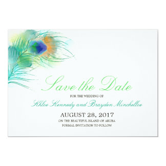 Watercolor Peacock Feather Save the Date 13 Cm X 18 Cm Invitation Card