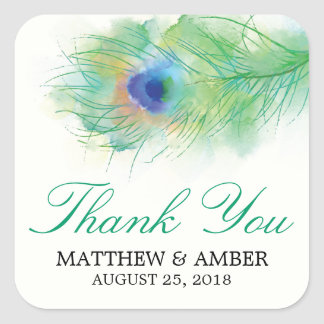 Watercolor Peacock Feather Stickers