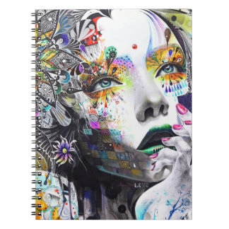 Watercolor Pencil Art of Abstract Women Notebook