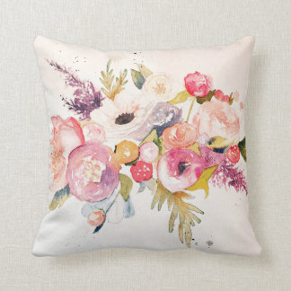 Watercolor Peonies and Flower Bouquet Pillow
