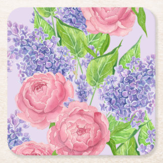 Watercolor peonies and lilacs square paper coaster