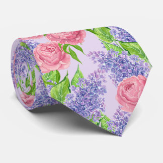 Watercolor peonies and lilacs tie