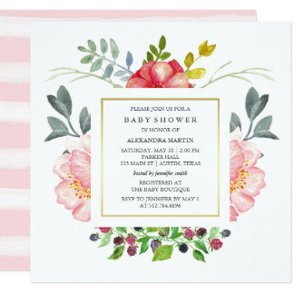 Watercolor Peonies Baby Shower Card