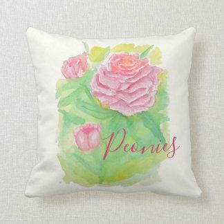 Watercolor Peonies Pillow