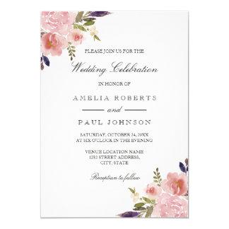 Watercolor Peonies Pink Purple Wedding Invitation