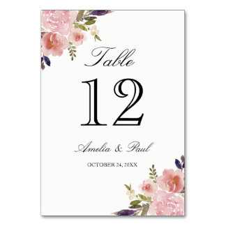 Watercolor Peonies Pink Wedding Table Number Cards