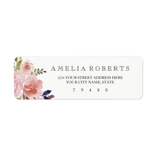 Watercolor Peonies Return Address Label