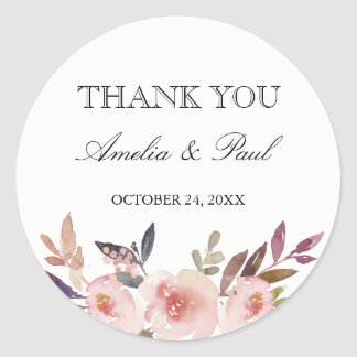 Watercolor Peonies Wedding Thank You Sticker