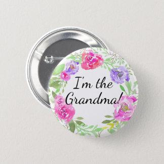 Watercolor Peony Baby Shower I am Grandma Name Tag 6 Cm Round Badge