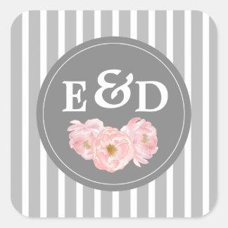 Watercolor Peony design Monogram Wedding Stickers