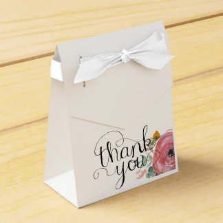 Watercolor Peony Favor Box Favour Box