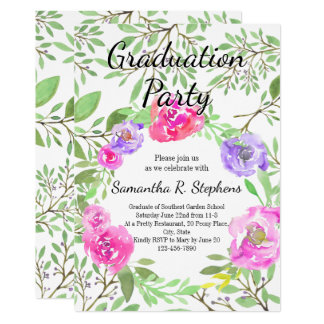 Watercolor Peony Floral Graduation Party Card