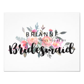 Watercolor Peony Floral Will You Be My Bridesmaid Card