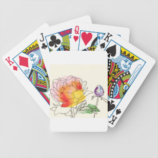 Watercolor Peony Flowers Bicycle Playing Cards
