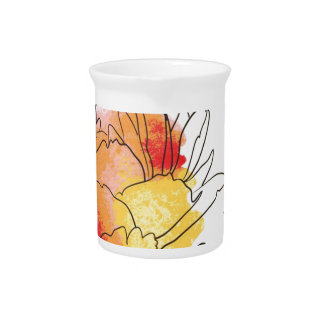 Watercolor Peony Flowers Drink Pitchers